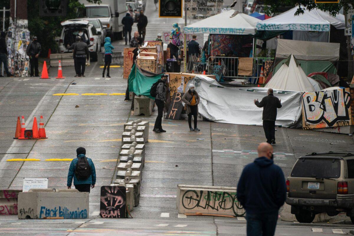 Concrete barriers in Seattle