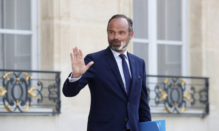 French Prime Minister Edouard Philippe leaves after a meeting at the Elysee Palace in Paris, France, on June 3, 2020. (Gonzalo Fuentes/Pool via AP)