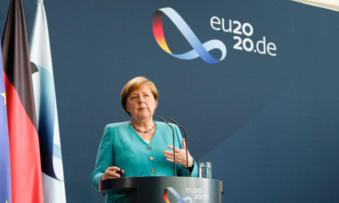 German Chancellor Angela Merkel and European Commission President Ursula von der Leyen (via live video transmission) speak to the media following talks at the Chancellery on July 2, 2020 in Berlin, Germany. (Christian Marquardt /Getty Images)