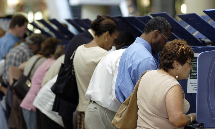 Voters go to the polls for early voting at the Miami-Dade Government Center in Miami, Fla., on Oct. 21, 2004. (G. De Cardenas/Getty Images)