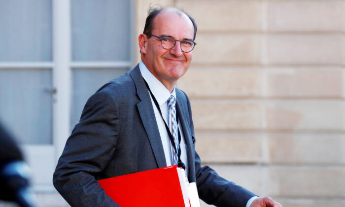 File photo of Jean Castex leaving after a video conference with the French president and French mayors at the Elysee Palace in Paris, France, on May 19, 2020. (Gonzalo Fuentes/Pool/AFP via Getty Images)