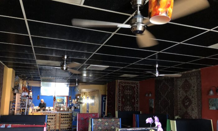 Inside Marlaina's Mediterranean Kitchen, a Seattle-area eatery, which is battling the coronavirus using UV light. (Will Stone for KHN)