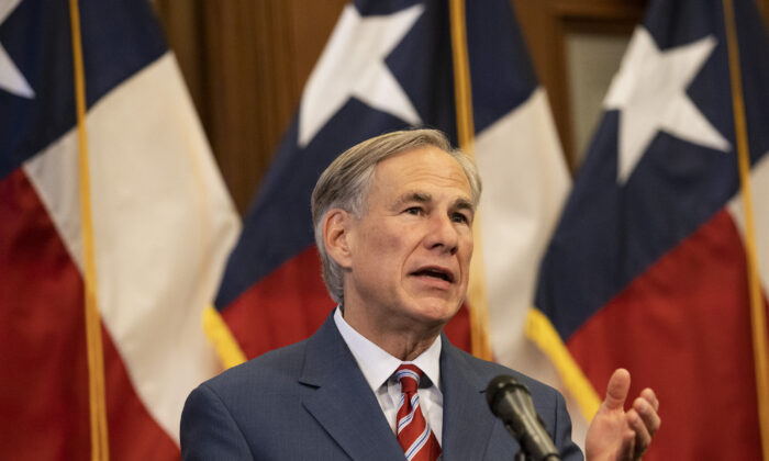 Texas Gov. Greg Abbott speaks at a press conference in Austin, Texas, on May 18, 2020. (Lynda M. Gonzalez/Pool/Getty Images)