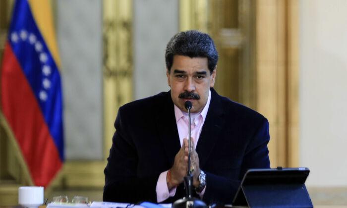 Venezuelan President Nicolas Maduro speaking during a televised announcement, at Miraflores Presidential Palace in Caracas, on March 26, 2020. (Jhonn Zerpa/Venezuelan Presidency/AFP via Getty Images)