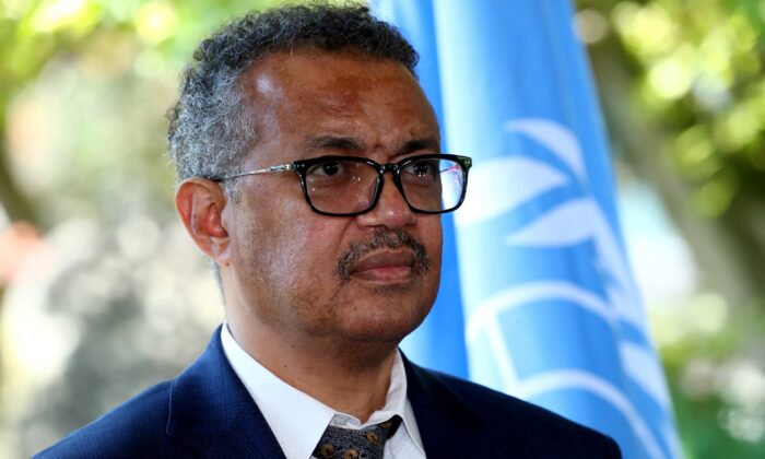 Tedros Adhanom Ghebreyesus, director-general of the World Health Organization (WHO), attends a news conference in Geneva, Switzerland, on June 25, 2020. (Denis Balibouse/Reuters)