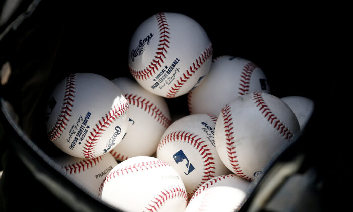 A detail of baseballs during a Grapefruit League spring training game between the Washington Nationals and the New York Yankees at FITTEAM Ballpark of The Palm Beaches in West Palm Beach, Fla., on March 12, 2020. (Michael Reaves/Getty Images)