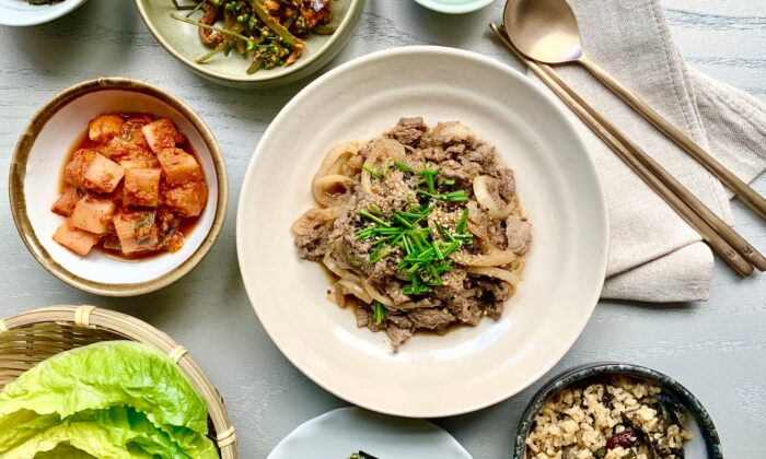 The author cooks her bulgogi, a recipe adapted from her mom's, in a griddle pan, so it cooks in its own juices. Serve the meat—and those extra juices—over freshly steamed rice. (Judy Joo)