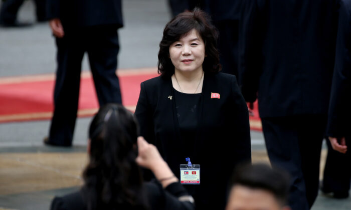 Hyon Song Wol, head of the North Korean Samjiyon art troupe takes a photo of Vice Minister of Foreign Affairs Choe Son-Hui (C) ahead of the welcoming ceremony of North Korea's leader Kim Jong Un (not pictured) at the Presidential Palace in Hanoi, Vietnam, on March 1, 2019. (Luong Thai Linh/Reuters)
