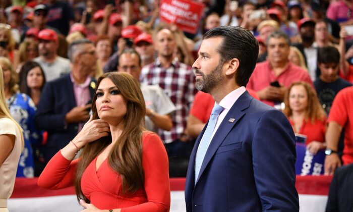 Kimberly Guilfoyle (L) and Donald Trump Jr., President Donald Trump's son, arrive for a campaign rally in Orlando, Fla., on June 18, 2019. (Mandel Ngan/AFP via Getty Images)