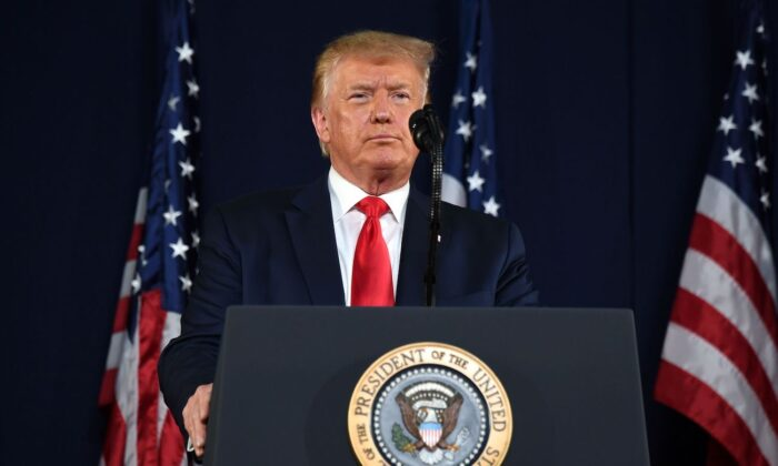 President Donald Trump speaks during the Independence Day events at Mount Rushmore National Memorial in Keystone, S.D., on July 3, 2020. (Saul Loeb/AFP via Getty Images)
