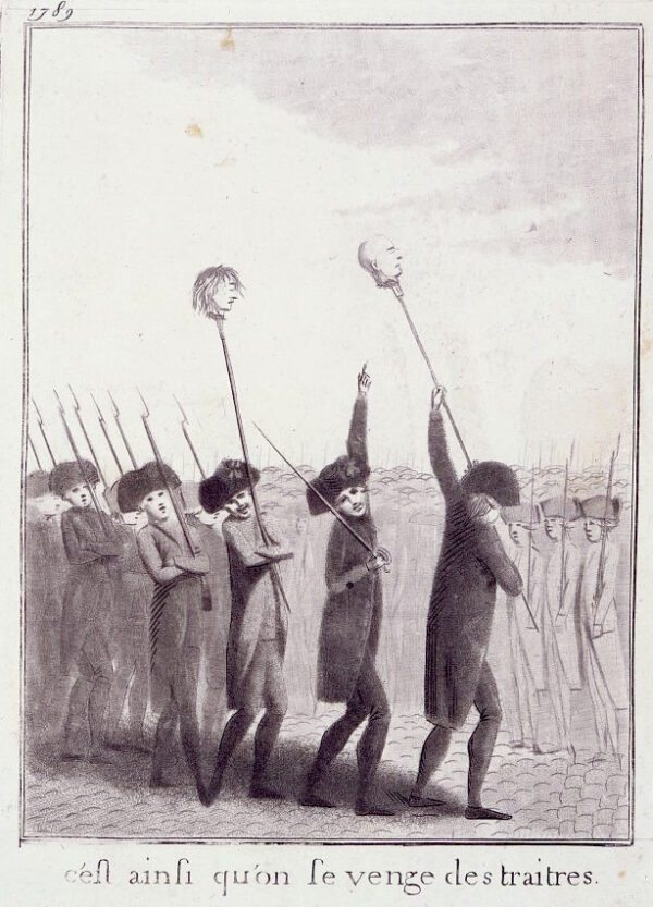 French militia with heads on pikes on Bastille Day