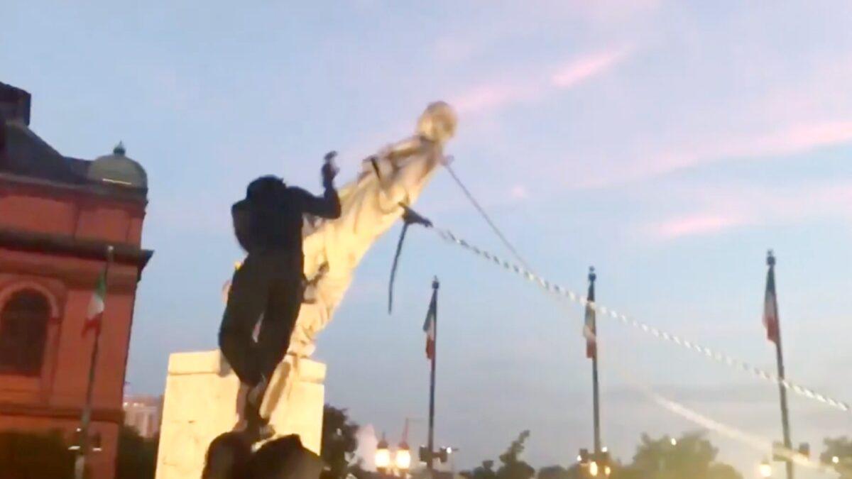Columbus Statue toppled