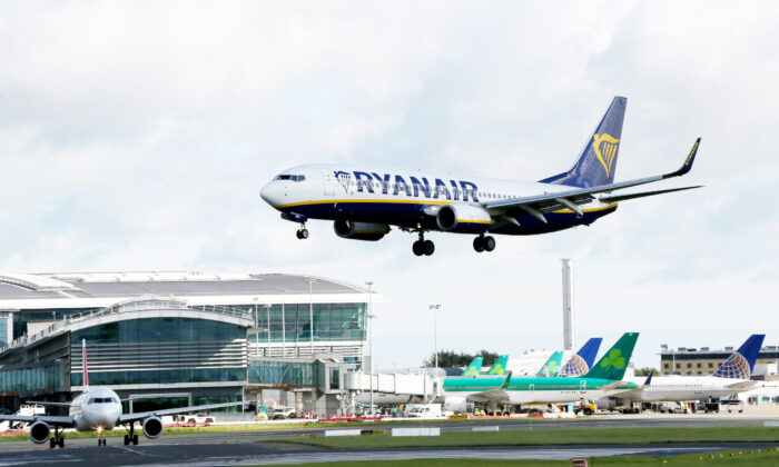 A Ryanair plane lands at Dublin Airport in Ireland on Sept. 21, 2017. (Paul Faith/AFP via Getty Images)