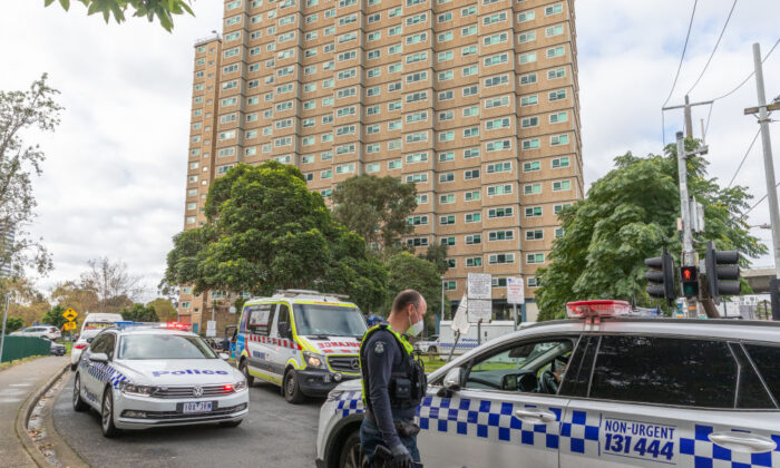 A general view of police and Ambulance services at the front of Flemington Public housing flats on in Melbourne, Australia July 5, 2020. (Asanka Ratnayake/Getty Images)