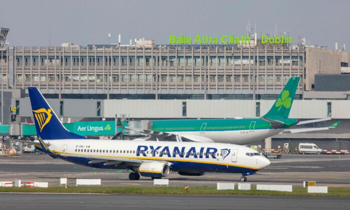 A Ryanair passenger jet is seen on the tarmac at Dublin airport on March 23, 2020. (Paul Faith/AFP via Getty Images)