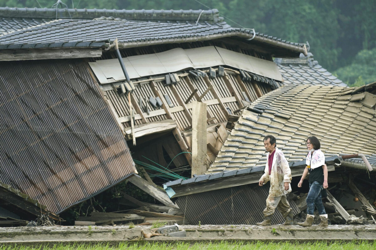 Houses damaged by flood