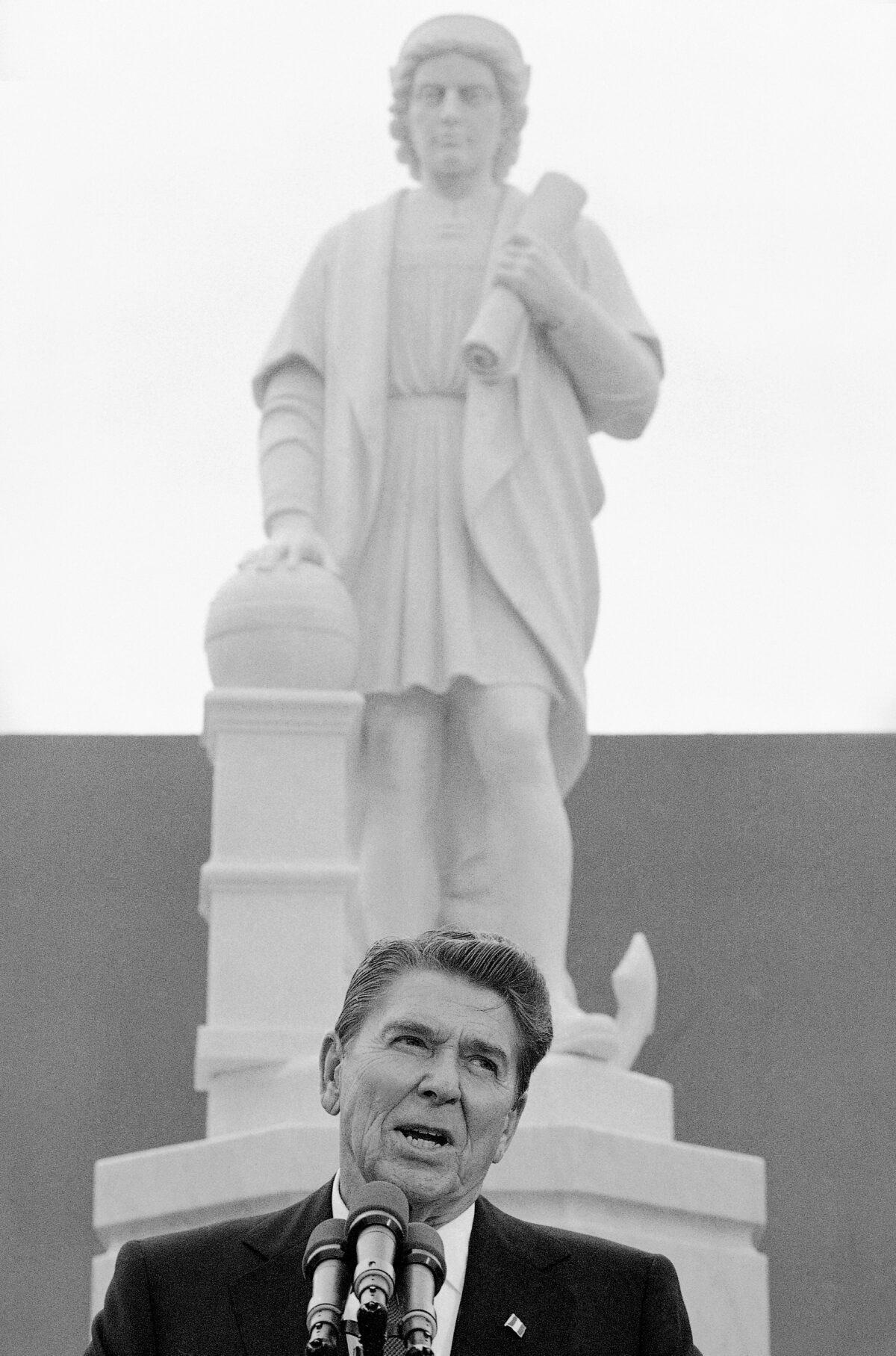 President Ronald Reagan and Columbus statue
