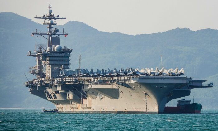 The United States aircraft carrier, USS Carl Vinson, anchored off the coast at Tien Sa Port in Danang, Vietnam on March 5, 2018. (Getty Images/Getty Images)