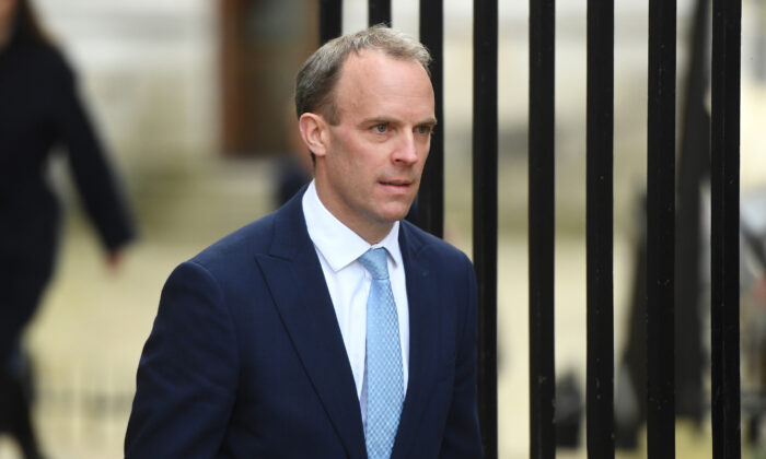 Britain's Foreign Secretary Dominic Raab arrives at 10 Downing Street on April 6, 2020 in London. (Peter Summers/Getty Images)