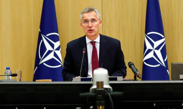 NATO Secretary-General Jens Stoltenberg speaks as he chairs a NATO defence ministers meeting via teleconference at the Alliance headquarters in Brussels, on June 17, 2020. (Francois Lenoir/POOL/AFP via Getty Images)