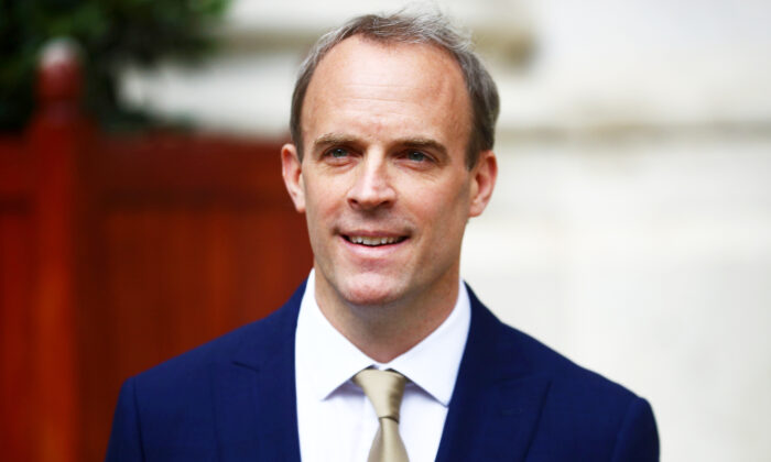 Britain's Foreign Secretary Dominic Raab reacts as he makes a statement on Hong Kong's national security legislation in London, Britain, on July 1, 2020. (Hannah McKay/Reuters)