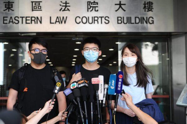 Ivan Lam, Joshua Wong, and Agnes Chow speak
