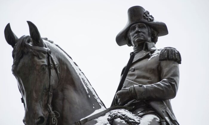 The George Washington statue in the Boston Garden in Boston, Mass., in 2017. (Ryan McBride/AFP via Getty Images)
