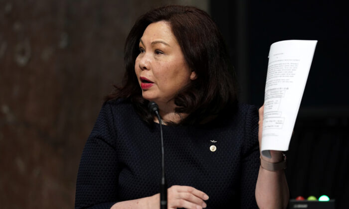 Sen. Tammy Duckworth (D-Ill.) during a hearing on Capitol Hill in Washington on May 6, 2020. (Greg Nash/Pool/Reuters)