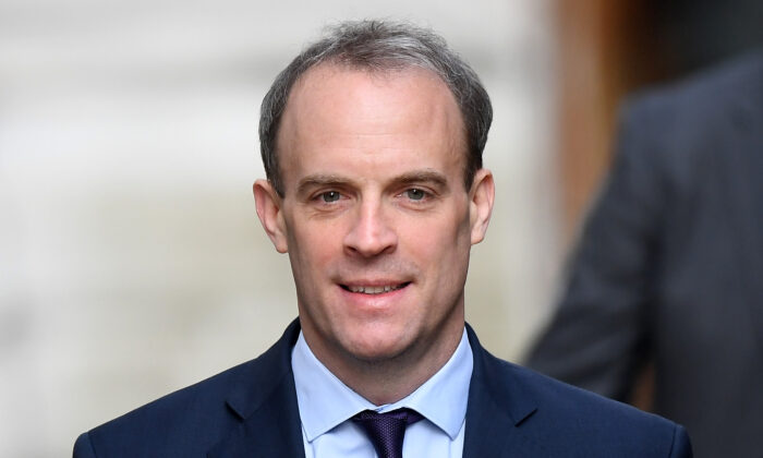 Foreign Secretary Dominic Raab arrives at 10 Downing Street for a C-19 committee meeting in London, England on April 8, 2020. (Peter Summers/Getty Images)