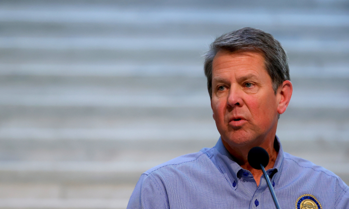 Georgia Gov. Brian Kemp speaks to the media during a press conference at the Georgia State Capitol in Atlanta, Ga., on April 27, 2020. (Kevin C. Cox/Getty Images)