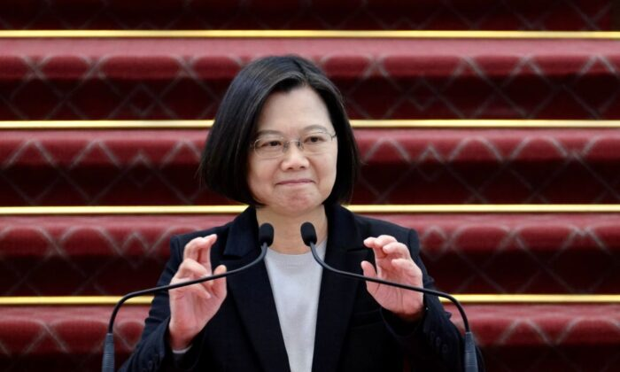 Taiwan President Tsai Ing-wen speaks during a press conference at the presidential office in Taipei on Jan. 22, 2020. (Sam Yeh/AFP via Getty Images)