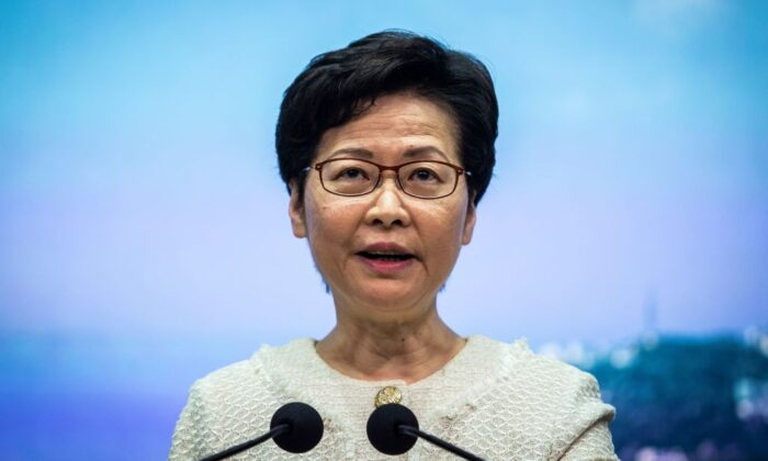 Hong Kong leader Carrie Lam speaks at a press conference in Hong Kong on July 7, 2020. (Issac Lawrence/AFP via Getty Images)