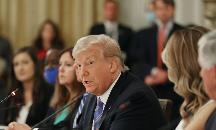 President Donald Trump speaks during an event with students, teachers, and administrators about how to safely re-open schools during the pandemic in the East Room at the White House in Washington on July 7, 2020. (Chip Somodevilla/Getty Images)