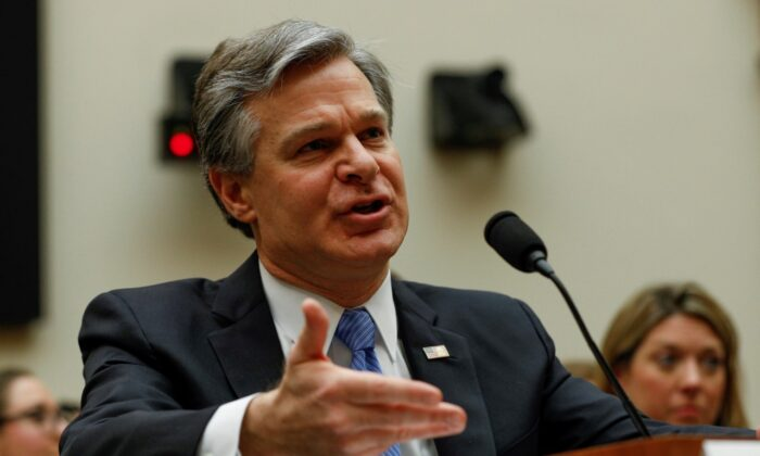 FBI Director Christopher Wray testifies before the House Judiciary Committee on Capitol Hill in Washington on Feb. 5, 2020. (Tom Brenner/Reuters)