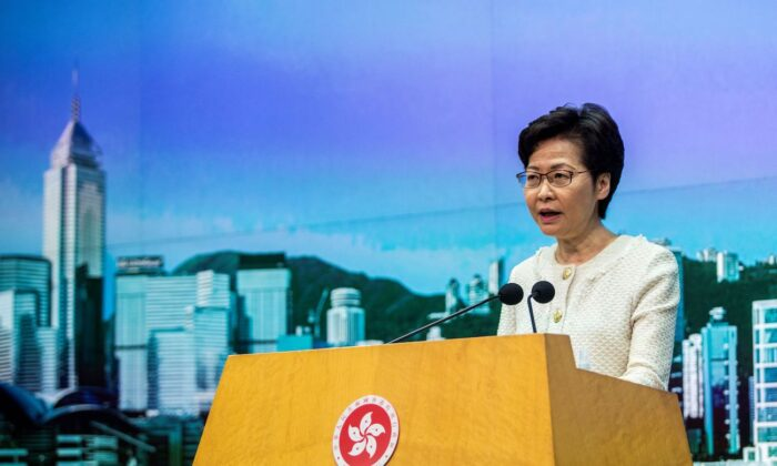 Hong Kong Chief Executive Carrie Lam speaks to the media about the new national security law introduced to the city at her weekly press conference in Hong Kong on July 7, 2020. (Isaac Lawrence/AFP via Getty Images)