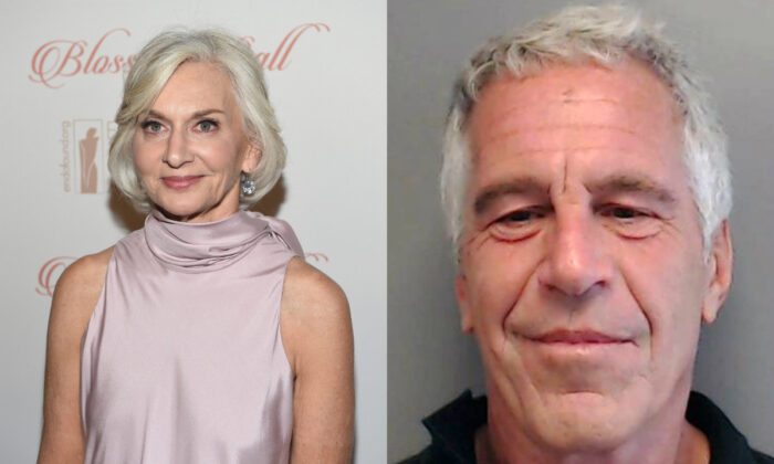 Eileen Guggenheim, on left, in New York City in a file photograph. On right, Jeffrey Epstein poses for a sex offender mugshot after being charged with procuring a minor for prostitution, in Florida on July 25, 2013. (Dimitrios Kambouris/Getty Images for Endometriosis Foundation of America; Florida Department of Law Enforcement via Getty Images)