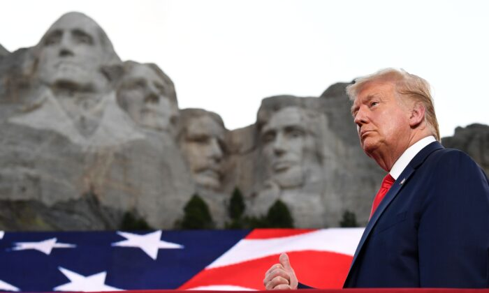 President Donald Trump gestures as he arrives for the Independence Day events at Mount Rushmore National Memorial in Keystone, S.D., on July 3, 2020. (Saul Loeb/AFP via Getty Images)