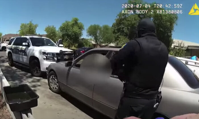 Screenshot from bodycam footage from a police-involved shooting in Phoenix, Ariz., on July 4. (Phoenix Police Department )