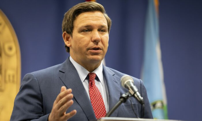 Florida Gov, Ron DeSantis speaks during a press conference in Miami, Florida on June 8, 2020. (Eva Marie Uzcategui/Getty Images)