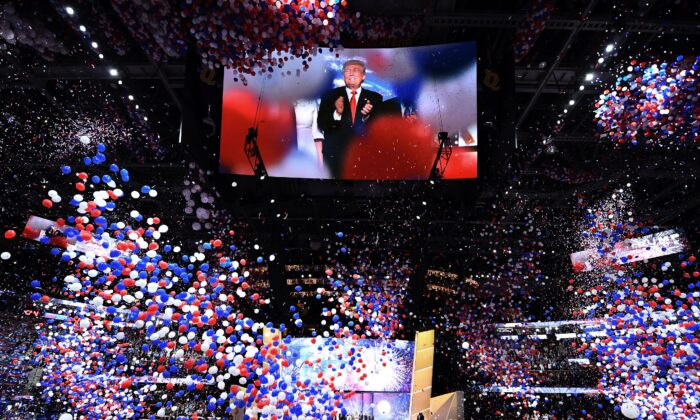 Republican presidential candidate Donald Trump is seen onscreen at the closing of the Republican National Convention at the Quicken Loans Arena in Cleveland, Ohio on July 21, 2016. (Jim Watson/AFP/Getty Images)