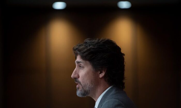Prime Minister Justin Trudeau speaks during a news conference on July 8, 2020 in Ottawa. (Adrian Wyld/The Canadian Press)