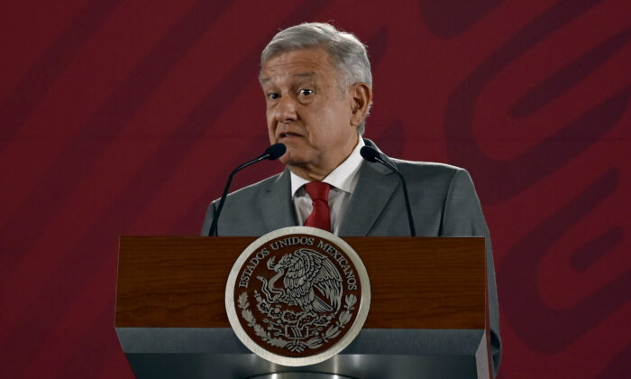 Mexican President Andres Manuel Lopez Obrador speaks during his morning press conference at the National Palace in Mexico City, Mexico, on May 31, 2019. (Alfredo Estrella / AFP via Getty Images)