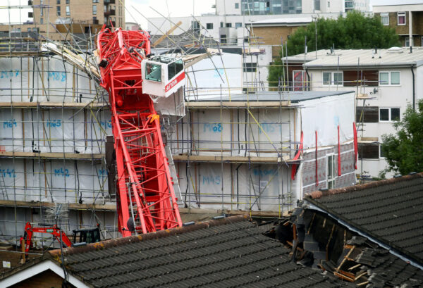 A collapsed crane in Bow, east London