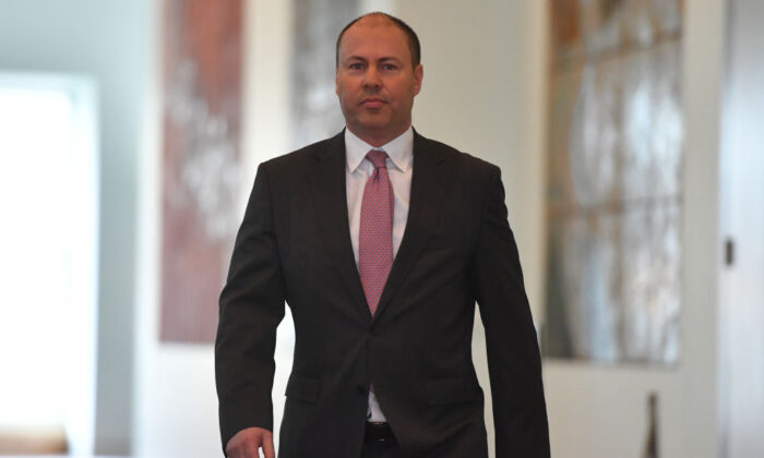 Federal Treasurer Josh Frydenberg arrived for a press conference on June 11, 2020 in Canberra, Australia. (Sam Mooy/Getty Images)