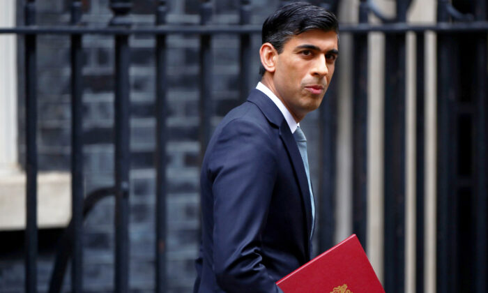 Britain's Chancellor of the Exchequer Rishi Sunak reacts as he leaves Downing Street, in London, Britain, on July 8, 2020. (Hannah Mckay/Reuters)