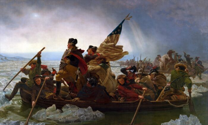 Washington Crossing the Delaware by Emanuel Leutze, a painting hanging in the Metropolitan Museum of Art, New York City. (Public Domain, via Wikimedia Commons)