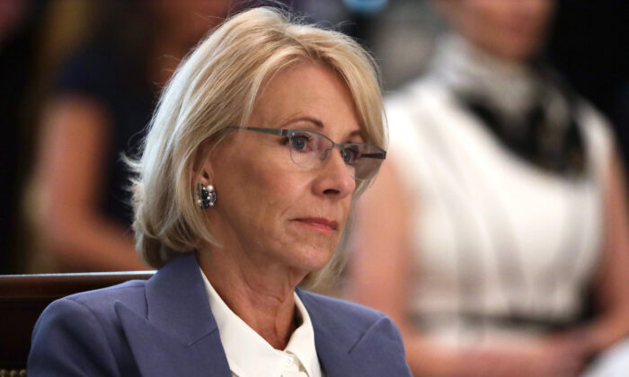 U.S. Secretary of Education Betsy DeVos listens during a cabinet meeting in the East Room of the White House in Washington on May 19, 2020. (Alex Wong/Getty Images)