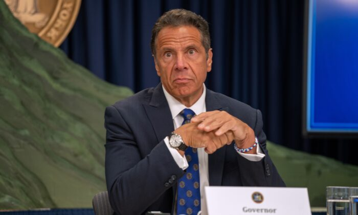 New York Gov. Andrew Cuomo speaks at a press conference in New York City on July 6, 2020. Cuomo defended the state's policy that mandated nursing homes accept residents who tested positive for COVID-19. (David Dee Delgado/Getty Images)