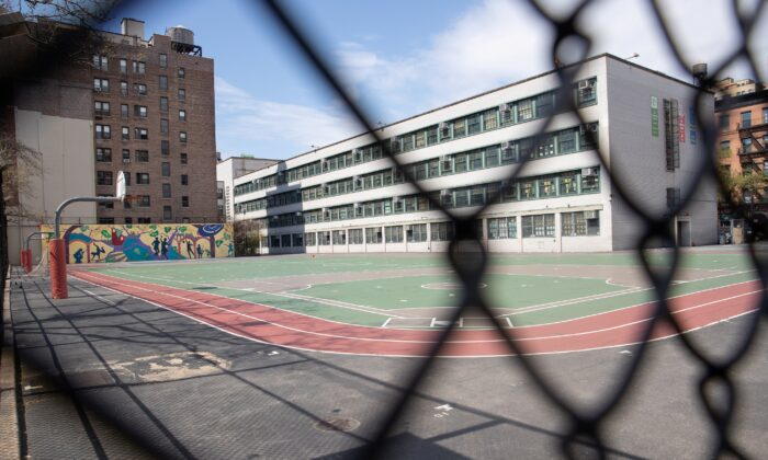 An empty playground is seen at the Anderson School PS 334 during the outbreak of the coronavirus in the Manhattan borough of New York City on April 12, 2020. (Jeenah Moon/Reuters)