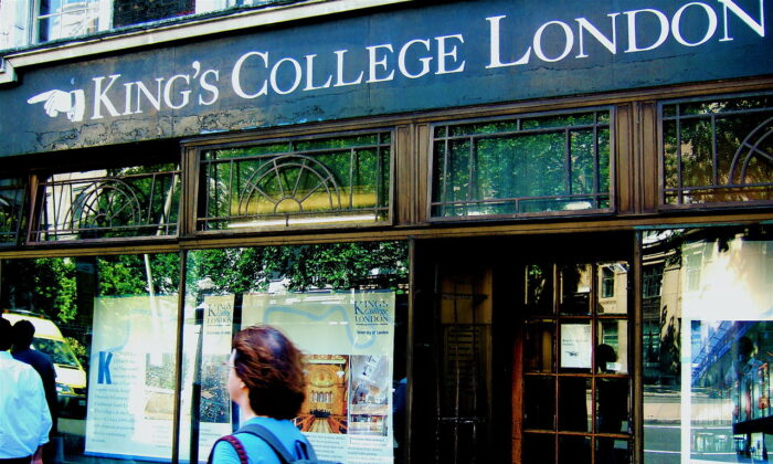 A student walks past the front of an old shop on the Strand Campus of King's College London in this file photo. (Public Domain/Salamander4000/English Wikipedia)